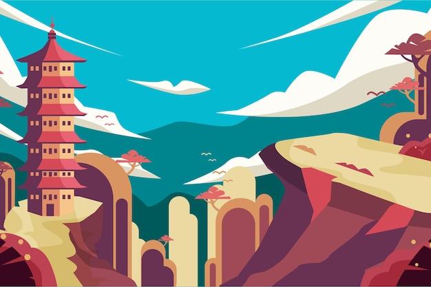 Ilustração de famoso ponto turístico de pagode japonês