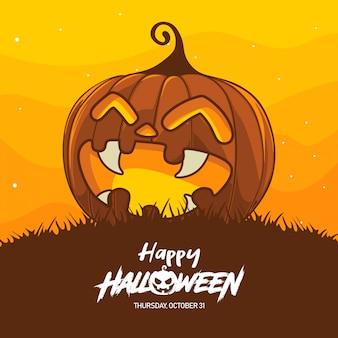 Ilustração de fantasia de abóbora de halloween