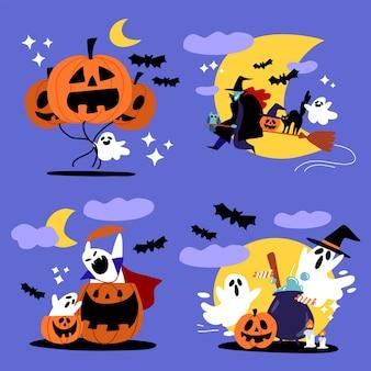 Ilustração de fantasma assustador de halloween e personagem de bruxa
