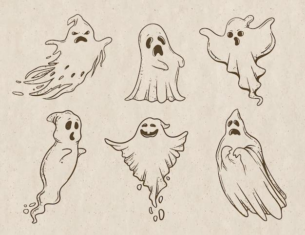 Ilustração de fantasma de halloween desenhado à mão