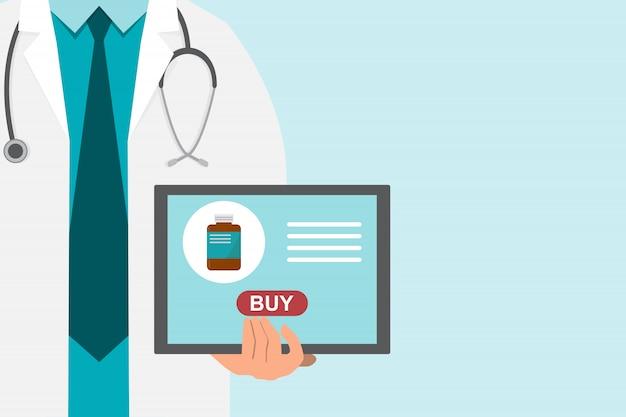 Ilustração de farmácia com médico segurando um tablet para comprar remédio