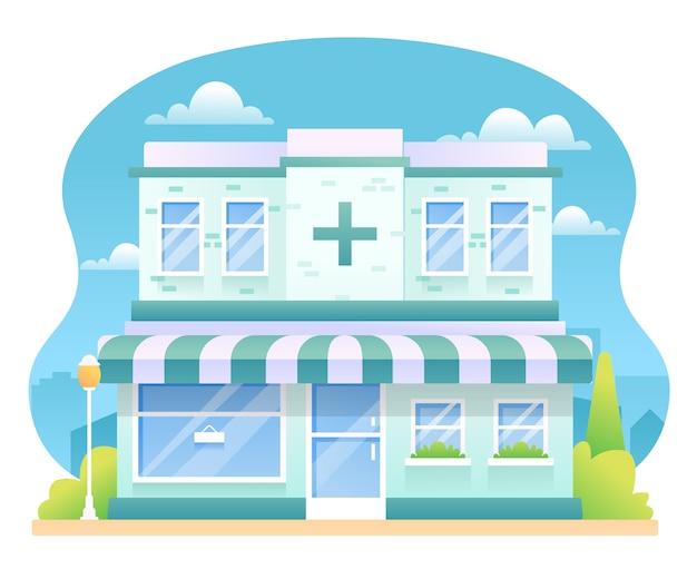 Ilustração de farmácia, edifício de drogaria.