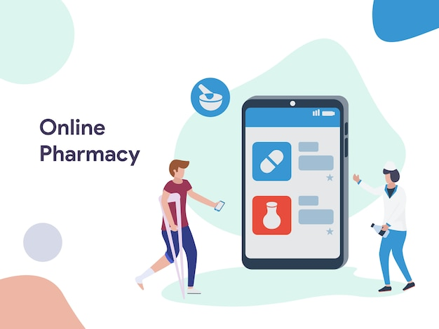 Ilustração de farmácia on-line