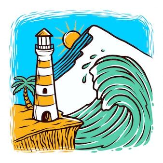 Ilustração de farol e ondas Vetor Premium