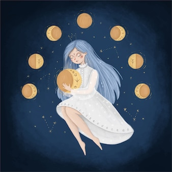 Ilustração de fase da lua bonito dos desenhos animados. uma mulher no céu segura a lua. ilustração de um ciclo menstrual feminino. ilustração de conto de fadas.