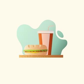 Ilustração de fast food com hambúrguer e coca