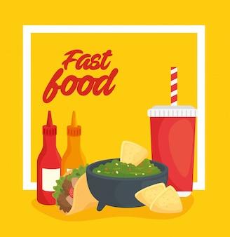 Ilustração de fast-food, comida mexicana, guacamole e comida deliciosa