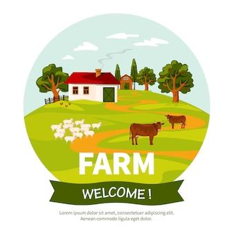 Ilustração de fazenda