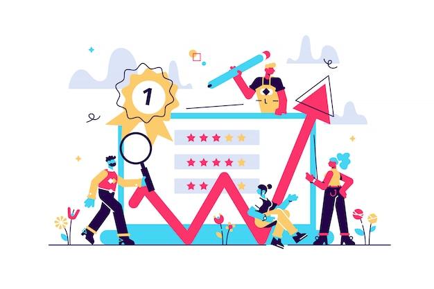 Ilustração de feedback sobre fundo branco. avaliação do trabalho, feedback dos clientes. forma de opinião, equipe de pesquisa profissional, melhor estimativa de desempenho.