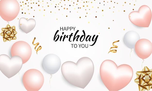 Ilustração de feliz aniversário com balão 3d realista