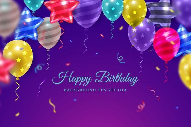 Ilustração de feliz aniversário com balão de ar realista 3d em fundo gradiente