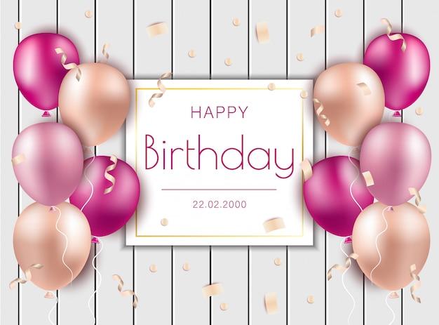 Ilustração de feliz aniversário com balões de ar rosa e confetes