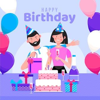 Ilustração de feliz aniversário com casal