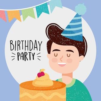 Ilustração de feliz aniversário com menino feliz