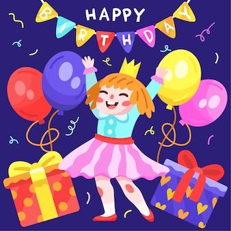 Ilustração de feliz aniversário desenhada à mão com menina e balões