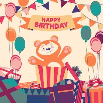 Ilustração de feliz aniversário desenhada à mão
