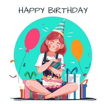 Ilustração de feliz aniversário