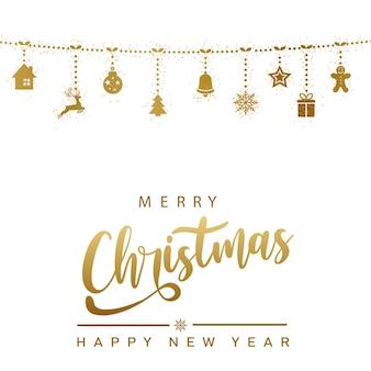 Ilustração de feliz ano novo com enfeites de natal dourados pendurados. vetor
