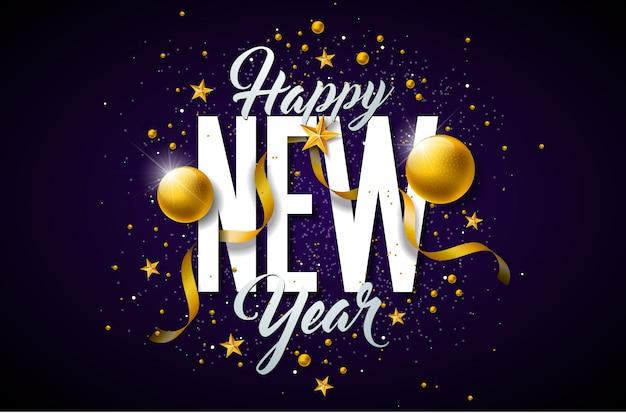 Ilustração de feliz ano novo de 2019 com letras de tipografia e bola de natal