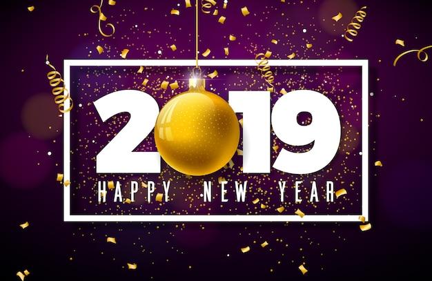 Ilustração de feliz ano novo de 2019 com letras de tipografia