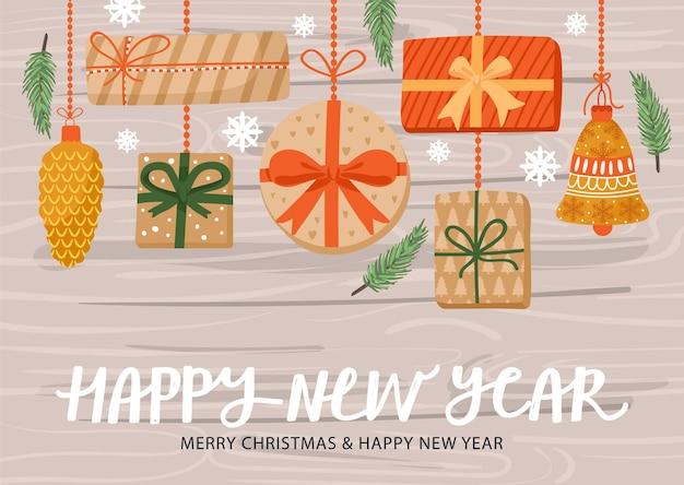 Ilustração de feliz ano novo. férias de inverno.