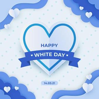 Ilustração de feliz dia branco em estilo jornal