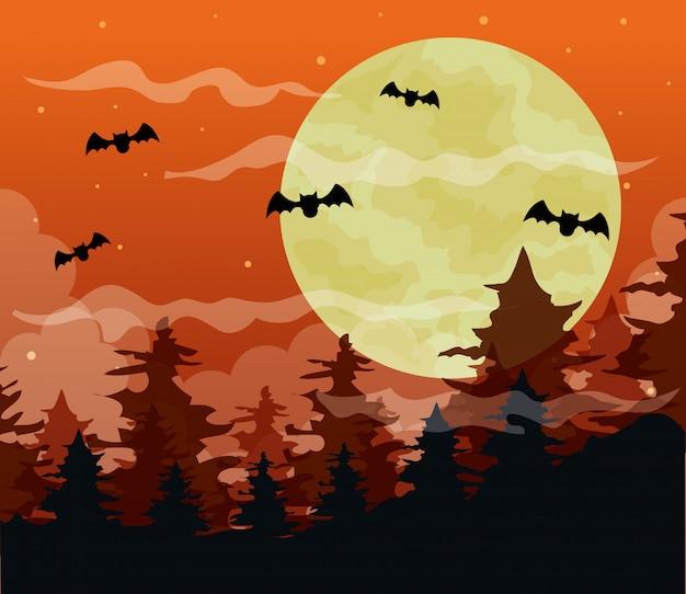 Ilustração de feliz dia das bruxas com floresta assustadora e morcegos voando