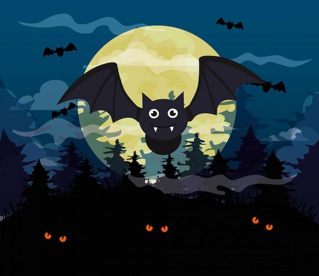 Ilustração de feliz dia das bruxas com morcegos voando e lua cheia