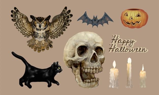Ilustração, de, feliz, dia das bruxas, ícones