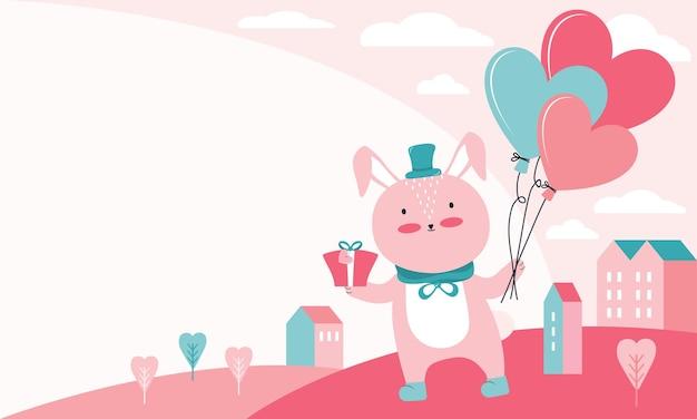 Ilustração de feliz dia dos namorados. coelho rosa com presente e balões em forma de coração sobre uma paisagem urbana. animal de personagem apaixonado