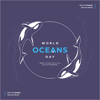 Ilustração de feliz dia dos oceanos desenhada à mão
