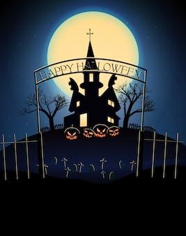 Ilustração de feliz halloween com o cemitério de árvores mortas de uma casa assombrada assustadora na lua cheia azul