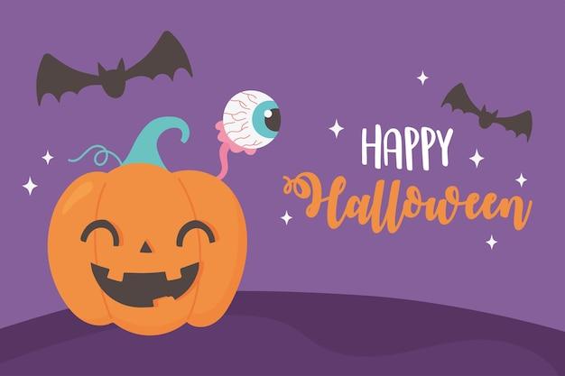 Ilustração de feliz halloween engraçado abóbora olho assustador e morcegos