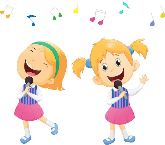 Ilustração, de, feliz, meninas cantando