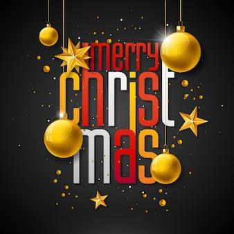 Ilustração de feliz natal com bola de vidro de ouro