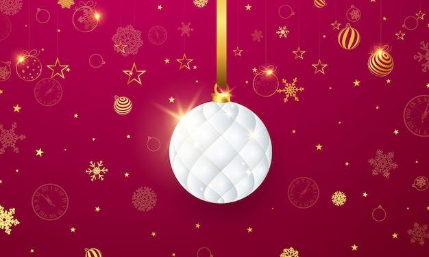 Ilustração de feliz natal com bugigangas brancas e flocos de neve dourados