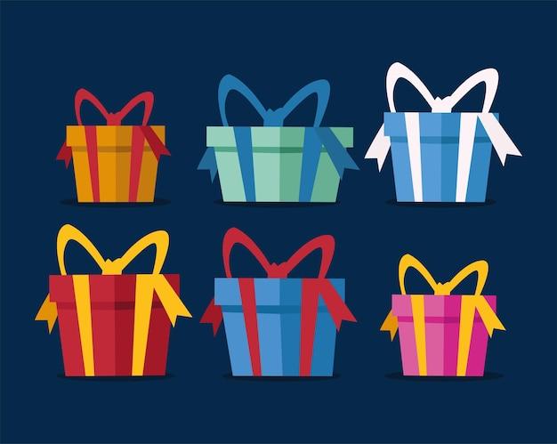 Ilustração de feliz natal com pacote de presentes