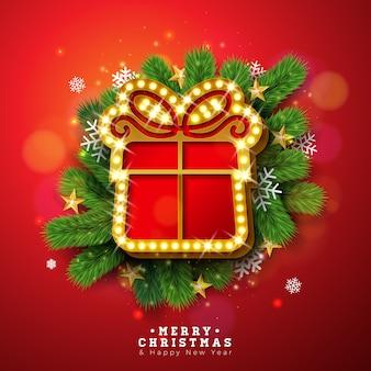 Ilustração de feliz natal com placa de sinal de luz