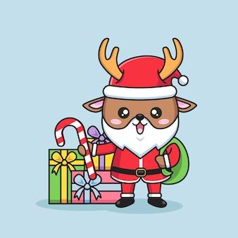 Ilustração de feliz natal com veado fofo vestindo roupas de papai noel