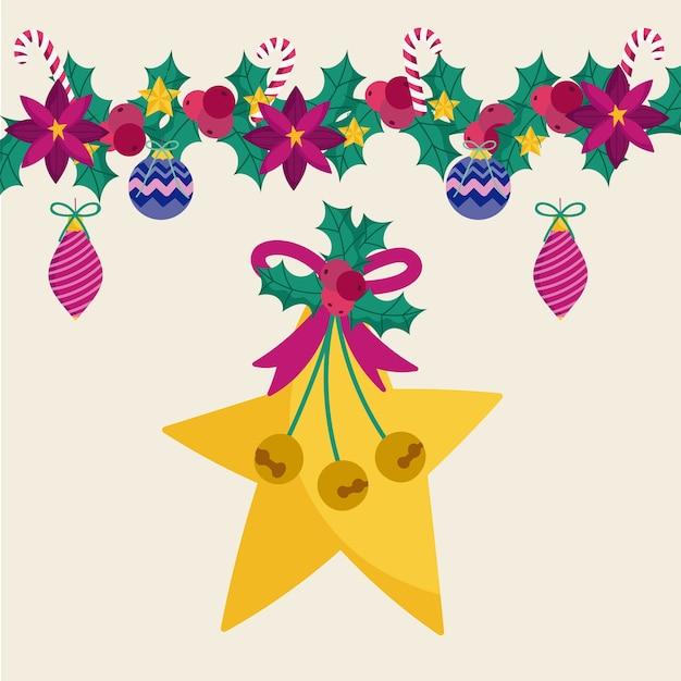 Ilustração de feliz natal estrela dourada guirlanda azevinho e bolas