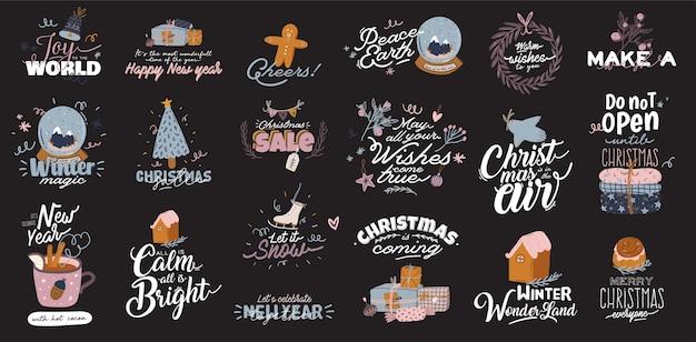 Ilustração de feliz natal ou feliz ano novo de 2020