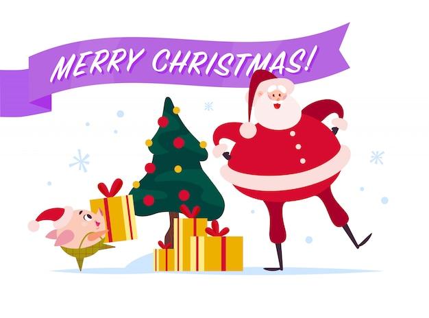 Ilustração de feliz natal plana com papai noel, elfo porco bonito