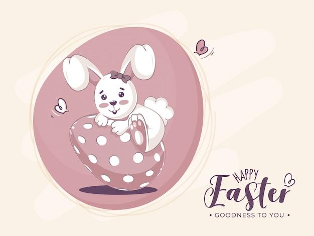 Ilustração de feliz páscoa com coelhinho fofo segurando um ovo.