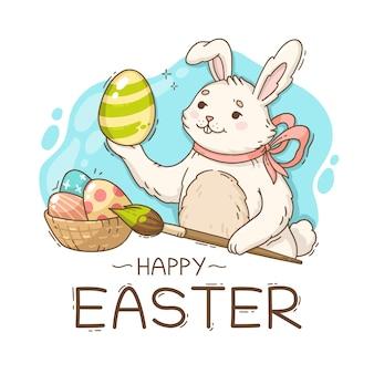 Ilustração de feliz páscoa com coelho pintando ovos
