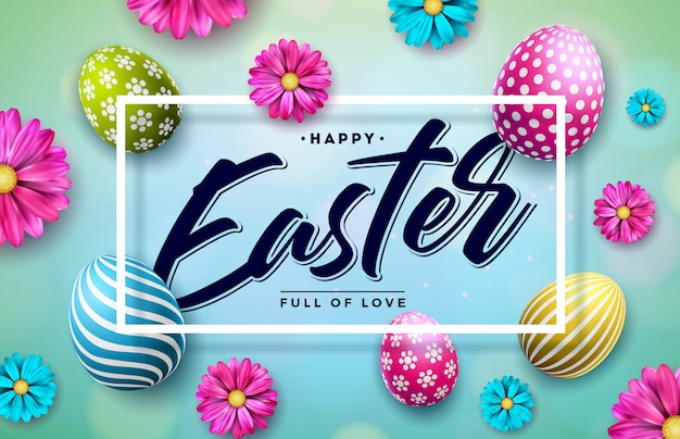 Ilustração de feliz páscoa com ovo colorido e flor