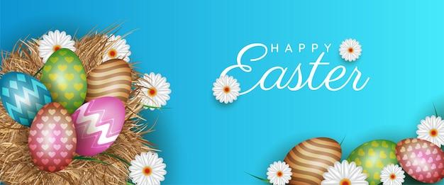 Ilustração de feliz páscoa com ovo pintado de cores e flores de primavera