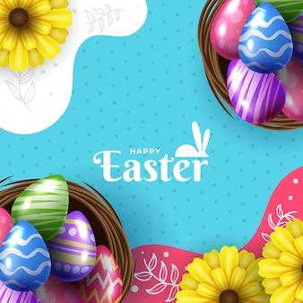 Ilustração de feliz páscoa com ovo pintado de cores