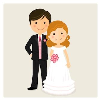 Ilustração de feliz recém casado no dia do casamento
