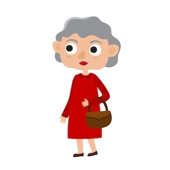 Ilustração de feliz senhora sênior com cabelos prateados no vestido vermelho, mulher de velhice dos desenhos animados, isolada no fundo branco.