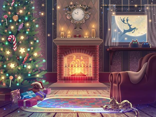 Ilustração de férias com árvore de natal, presentes e lareira na sala mágica